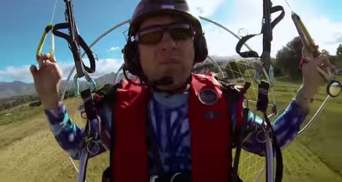 Paramotor Over Dolphins