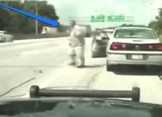 Cop Drags Suicidal Man Off Freeway