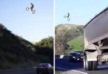 Dirtbiker Jumps LA Freeway