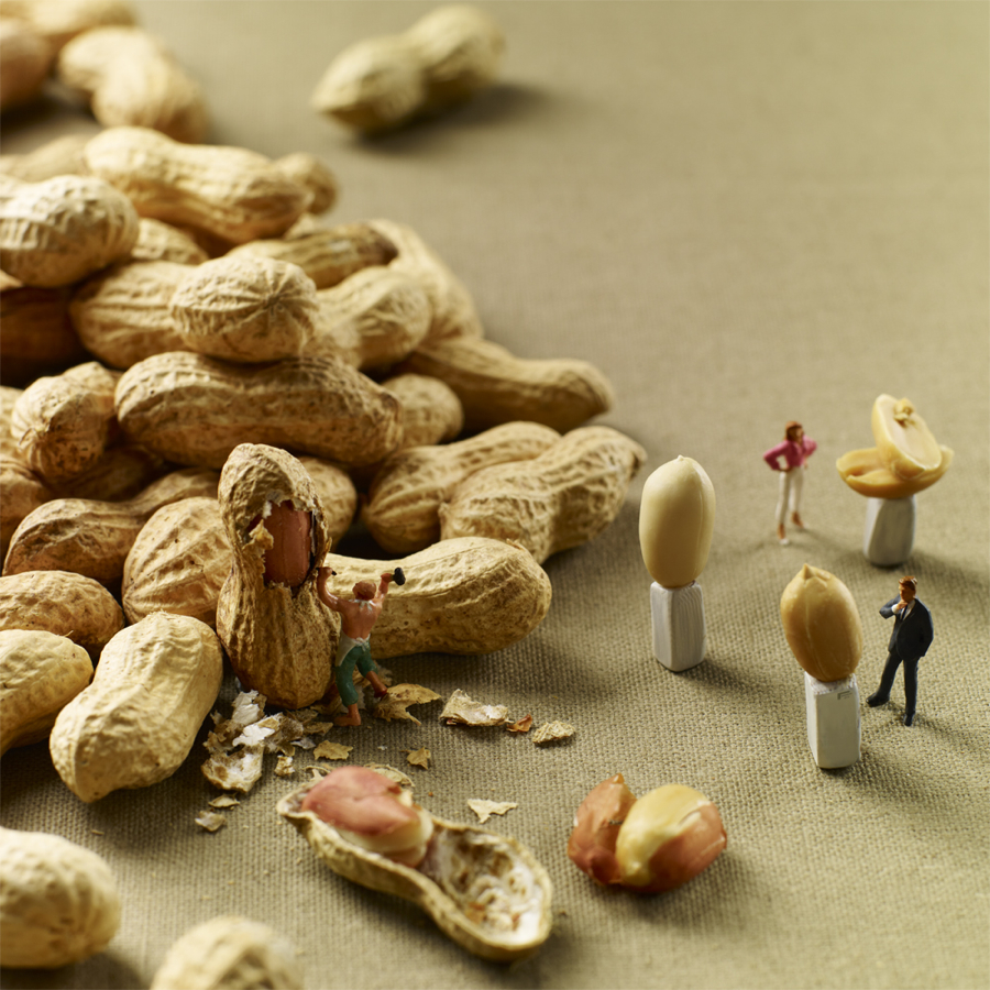 miniature people with food