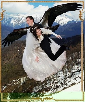 Flying Groom and Bride