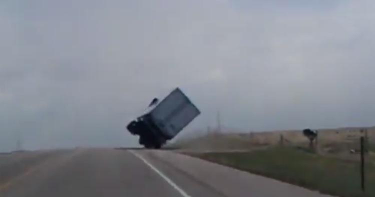 Storm Flips Truck