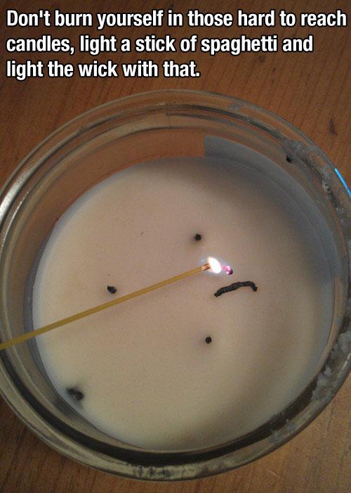 Spaghetti candle - life hack