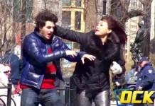 Physically Abused Boyfriend Hits Girlfriend Back In Public!