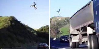 Dirtbiker Jumps LA Freeway